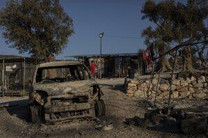 Následky požiaru v utečeneckom tábore Moria na gréckom ostrove Lesbos.