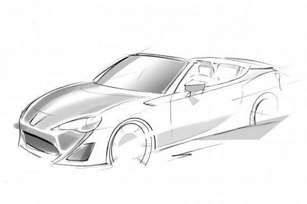 Skica kabrioletu FT-86 Open zachováva všetky dizajnové prvky úspešných dvojičiek Subaru BRZ/Toyota GT 86.
