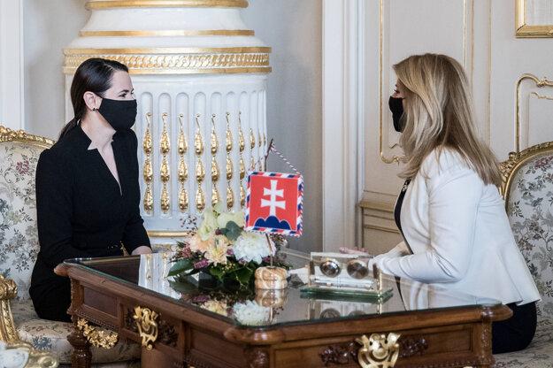 Prezidentka SR Zuzana Čaputová a predstaviteľka bieloruskej opozície a bývalá prezidentská kandidátka Sviatlana Cichanovská.