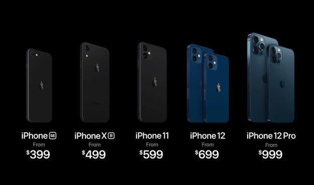 Aktuálna ponuka iPhonov.