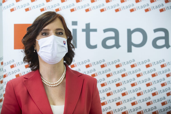 Podpredsedníčka vlády Veronika Remišová počas tlačovej konferencie na podujatí Jarná ITAPA 2020: