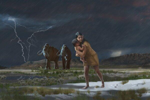 Umelecká predstava o putovaní ženy s batoľaťom cez územie, ktoré je dnes v Národnom parku White Sands. Jej stopy sa zachovali viac ako desaťtisíc rokov, vedci ich teraz podrobili detailnej analýze. KLIKNITE PRE ZVÄČŠENIE.