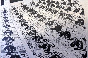 Karikatúra - Biela vrana v ministerstve v Kocúrovi roku 1930.