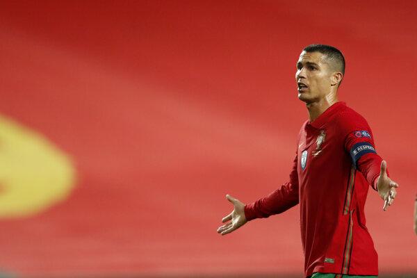 Portugalčan Cristiano Ronaldo v zápase Ligy národov proti Francúzsku.