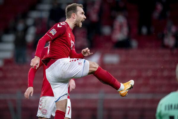 Eriksen oslavuje gól Dánska v Lige národov.