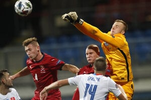 Marek Rodák v zápase Česko - Slovensko, Liga národov UEFA.