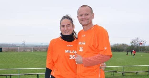 Štefan Nagy s dcérou-futbalistkou Martinou.