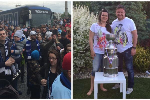 Pamätné fotky z roku 2016 - autobus hokejových majstrov sa predieral oslavujúcim námestím a Marián Ďurovkin z Incaru s manželkou Zuzanou pózovali s trofejou.