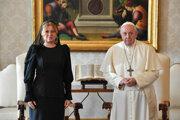 Pápež František a prezidentka Zuzana Čaputová.