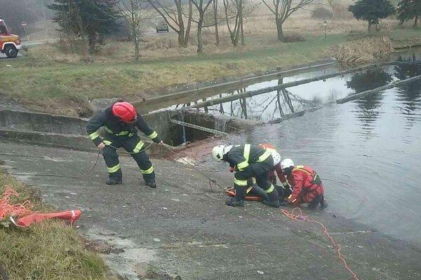 Cvičenie hasičov na Handlovskom rybníku.