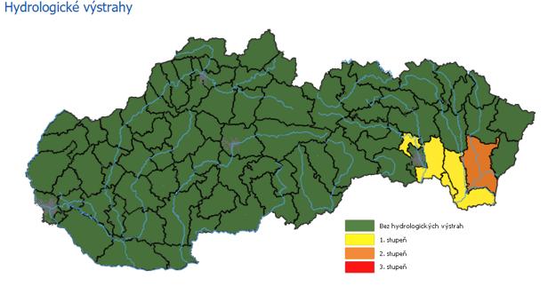Hydrologická výstraha pred povodňami.