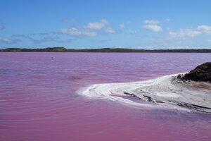 Jazero Hutt lagoon. Sýto ružovú farbu spôsobujú riasy.