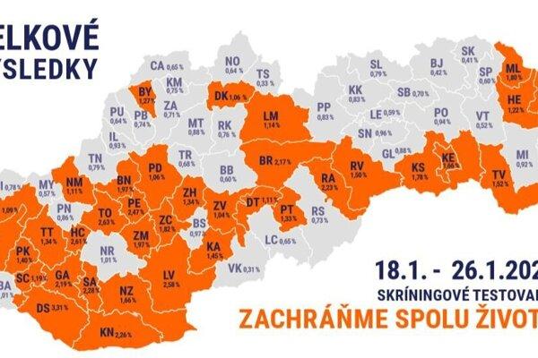 Mapa okresov, ktoré čaká ďalšie kolo testovania.