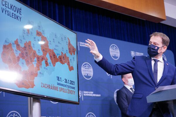 Premiér Igor Matovič počas tlačovej besedy.