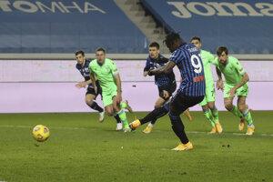 Momentka zo zápasu Atalanta Bergamo - Lazio Rím.