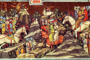 Kumáni prichádzajú do Uhorského kráľovstva, miniatúra z Viedenskej obrázkovej kroniky.