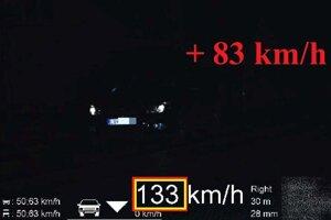 Vodič prekročil rýchlosť o 83 kilometrov za hodinu.