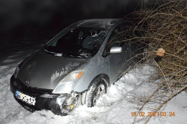 Toyota skončila mimo cesty.