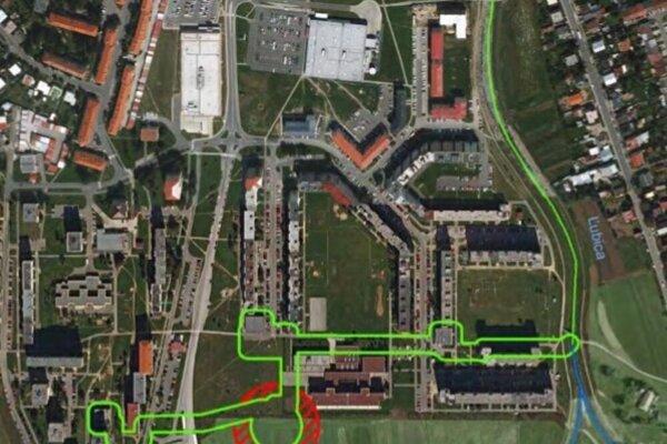Zobrazenie dotknutého územia z leteckého pohľadu.
