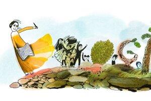 Google Doodle venovaný 100. výročiu narodenia prvej rómskej spisovateľky Eleny Lackovej