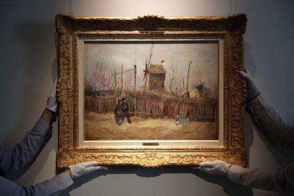 Obraz pouličnej scény z parížskej štvrti Montmartre od Vincenta van Gogha.