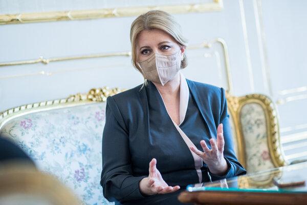 Prezidentka Zuzana Čaputová počas rozhovoru pre SME.