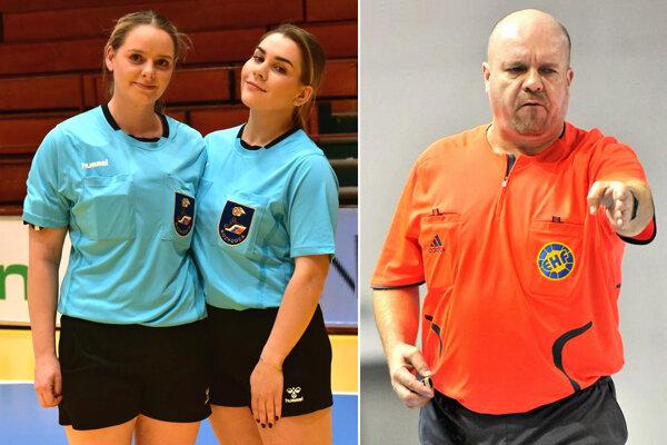 Zľava Stanislava Kellner a Rebeka Haščíková, mladá dvojica, ktorá už viedla dva zápasy MOL ligy. Vpravo Peter Haščík, skúsený rozhodca, ktorý pískal aj európske a svetové súťaže.