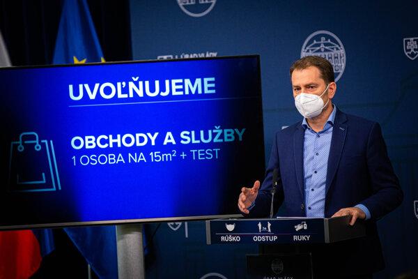 Igor Matovič informuje o uvoľňovaní opatrení.