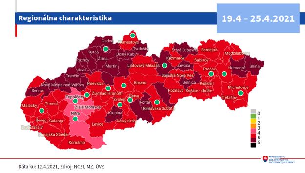 Mapa podľa okresov od 19.4.2021.