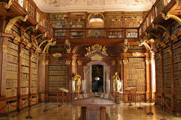 Knižnica v Kláštore Melk v Rakúsku
