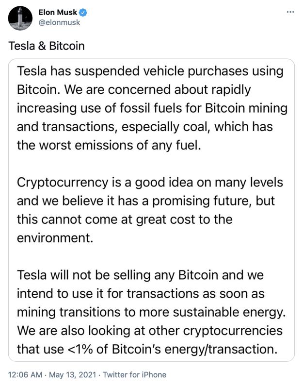Status Elona Muska k tomu, že Tesla prestane prijímať platby Bitcoinom pre jeho veľkú energetickú náročnosť, ktorá škodí životnému prostrediu.