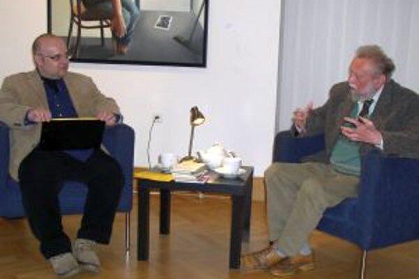 Dado Nagy a spisovateľ Ján Buzzásy v rámci 4-3-2-1... v prvom polroku 2012.