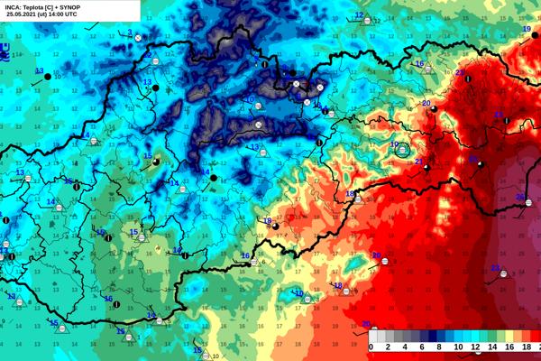 Studený front spôsobuje na Slovensku veľké teplotné rozdiely.
