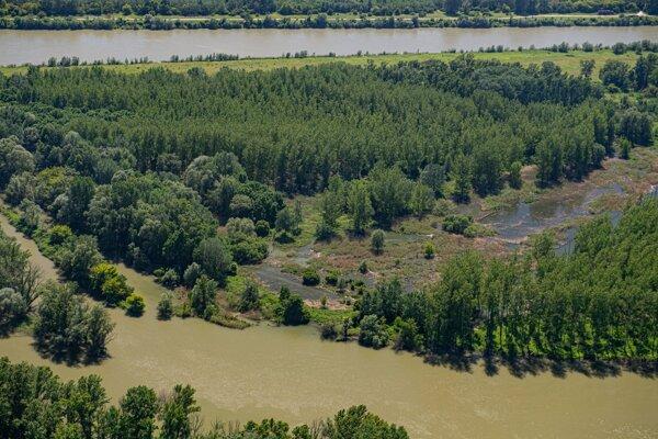 Na snímke z vrtuľníka pohľad na rozvodnené ramená Dunaja. Na toku rieky sa uskutočňujú simulované a kontrolované záplavy.