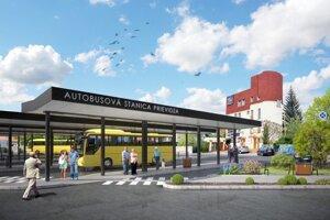 Vizualizácia zrekonštruovanej autobusovej stanici v Prievidzi.
