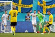 Martin Dúbravka pred penaltou v  zápase Slovensko - Švédsko na EURO 2020 (2021).