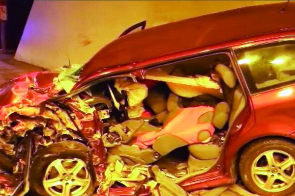 Škodovka po nehode.