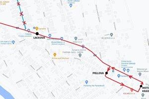 Dočasná trasa linky č. 52.