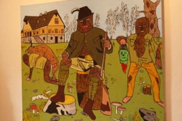 Na výstave Lovu zdar! nechýbajú aj tekéto recesistické obrazy.