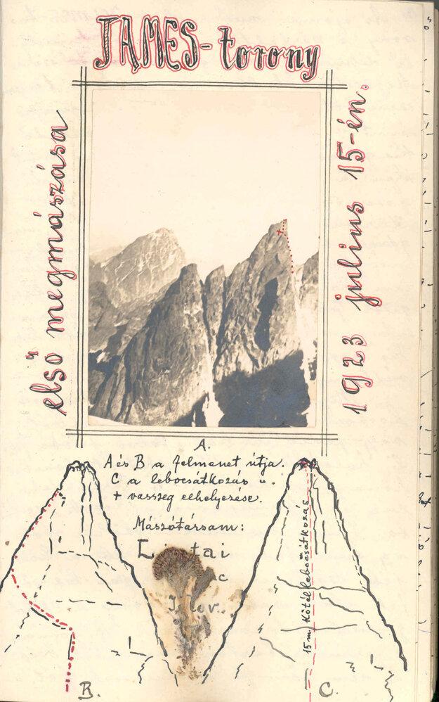 Veža JAMES, na ktorú uskutočnili v roku 1923 prvovýstup M. Mlynárčik a F. Lipták, sa dostala aj od odznaku JAMESu.