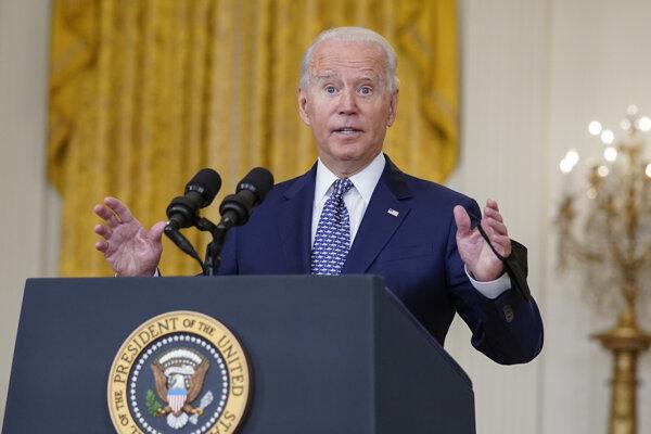 Americký prezident Joe Biden na tlačovom brífingu.