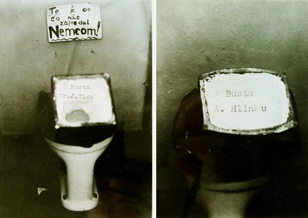 Hlinka a Tiso v záchode. Ich busty tam strčil profesor náboženstva v Zlatých Moravciach.