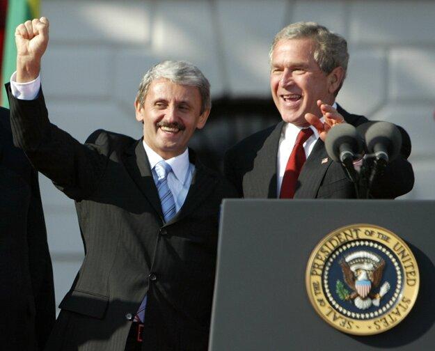 Mikuláš Dzurinda s Georgeom W. Bushom.