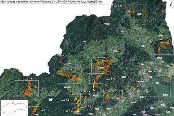 na tejto mape sú vyznačené lokality, ktorých sa zaradenie do chránených území týka.