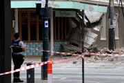 Zemetrasením poškodená budova v Melbourne.