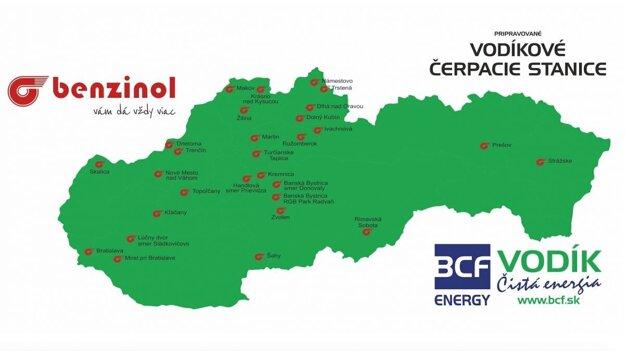 Mapa pripravovaných čerpacích staníc na vodík.