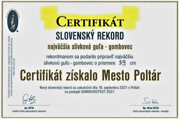 Certifikát k získanému rekordu.