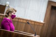 Prezidentka Zuzana Čaputová počas prednášania správy o stave republiky v roku 2020.