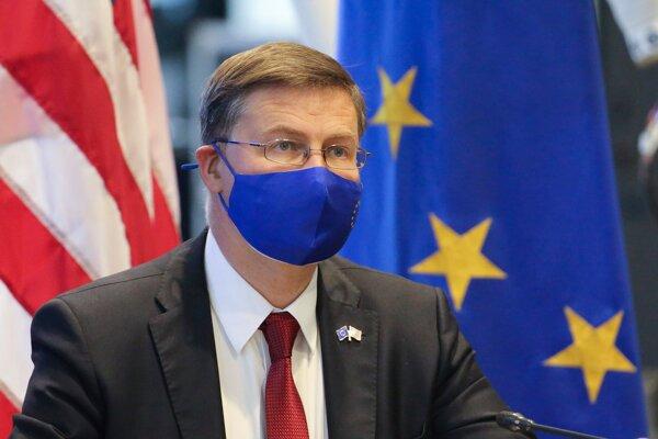 Viceprezident Európskej Komisii Valdis Dombrovskis na rokovaniach v USA.