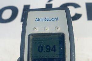 Výsledok jedného z viacerých meraní alkoholu v dychu za včerajčí deň.